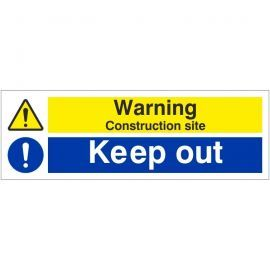 Warning Construction Site Keep Out Sign 600W x 200Hmm - Rigid Plastic