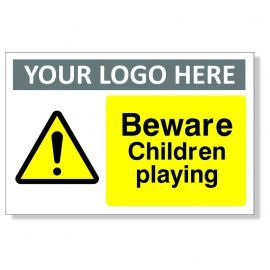 Beware Children Playing Custom Logo Warning Sign