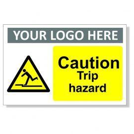 Caution Trip Hazard Custom Logo Warning Sign