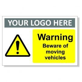 Warning Beware Of Moving Vehicles Custom Logo Warning Sign