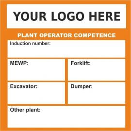 Custom Plant Operator Competence Sticker 55mm x 55mm (Pack of 50)