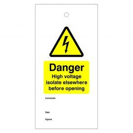 Danger High Voltage Isolate Elsewhere Before Opening Warning Tags