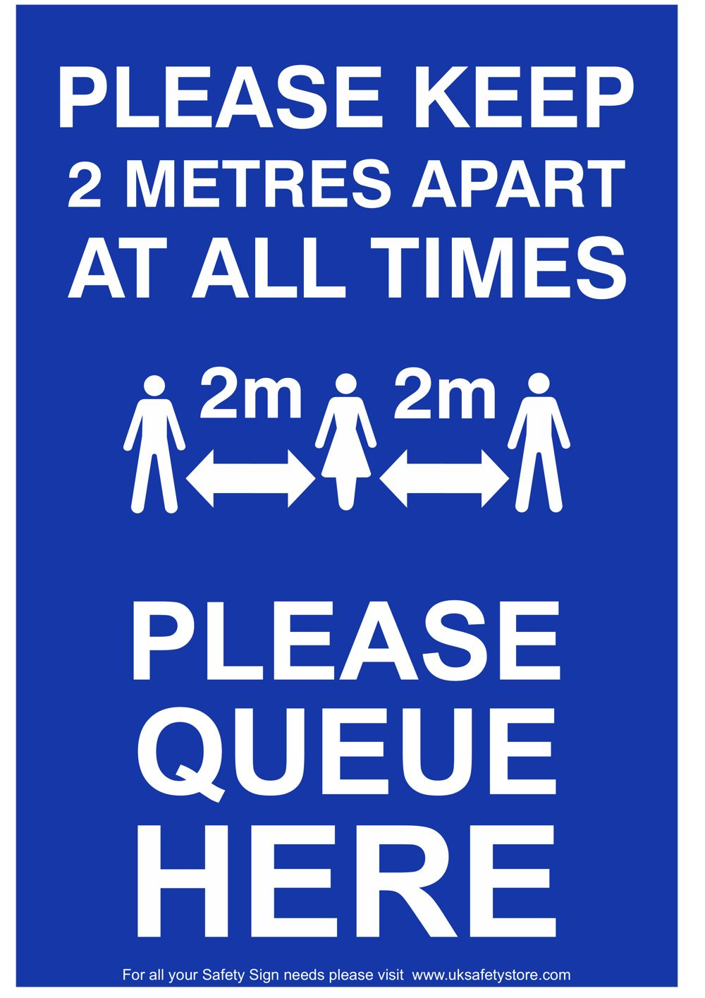 Free Social Distancing Sign Template - Please Queue Here Sign