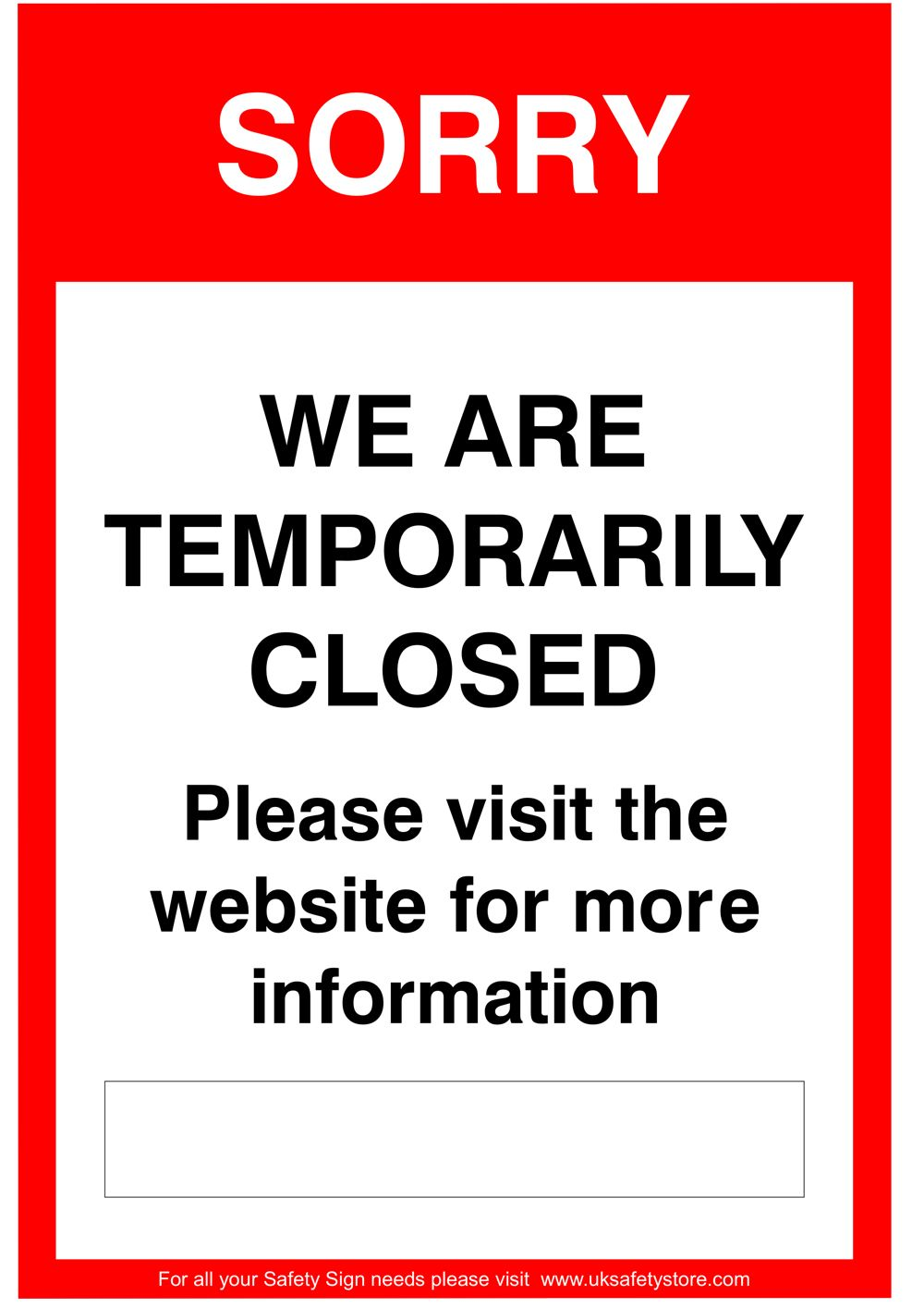 Free Social Distancing Sign Template - Sorry we are closed visit our website Sign