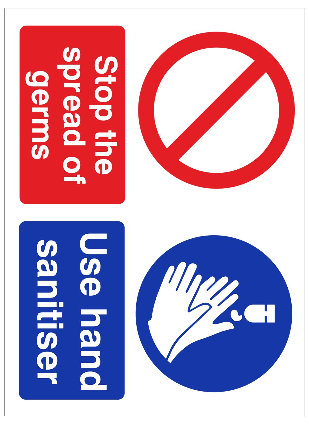 Free Social Distancing Sign Template - Stop Spread of Germs - Use Hand Sanitiser